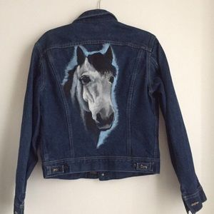 Vintage lee jacket with hand painted white horse